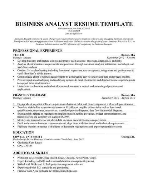 business analyst resume templates cover letter of business process analyst