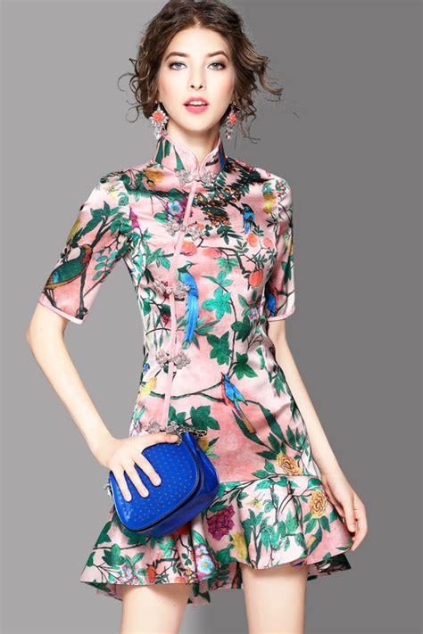 Mandarin Collar Floral Print Dress 89 00 floral print mandarin collar mermaid dress
