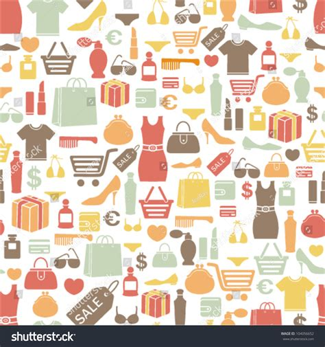 Seamless Pattern With Shopping Icons | seamless pattern with shopping icons stock vector