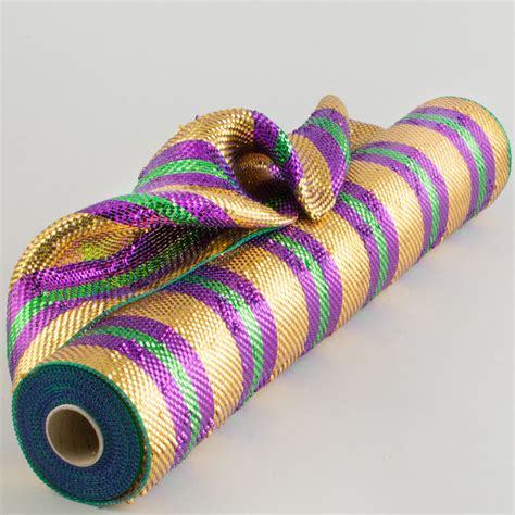 deco mesh 21 quot poly deco mesh premium mardi gras stripes re1049na craftoutlet