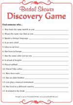 bridal shower discovery game printable personalized brides freebies