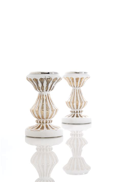 Small White Candle Holders White And Gold Small Candle Holder Shop Your Way
