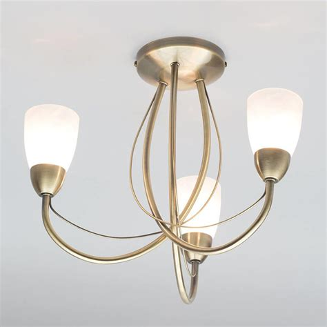 madrid semi flush ceiling light 3 light antique brass