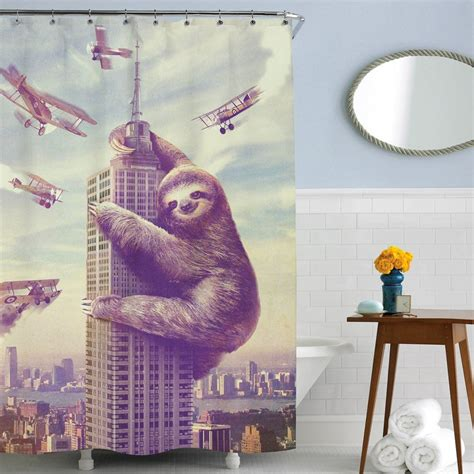 slothzilla shower curtain funny shower curtains for interesting bathrooms gift canyon