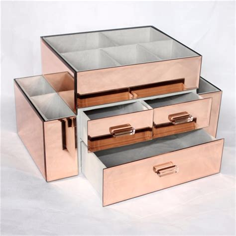 Custom Acrylic Make Up Box 2017 newest custom nail display stand makeup storage box gold acrylic cosmetic