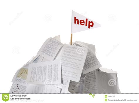 Help With Papers by Heap Of Papers With Help Flag Sticking Out Stock Photo