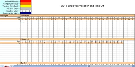 printable vacation schedule 2011 employee vacation tracking calendar template work