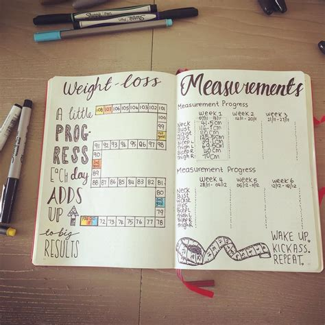 weight loss journal weight loss and measurement pages journaling