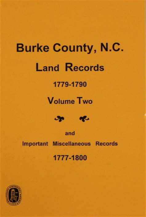 Burke County Records Burke County Carolina Land Records 1779 1790 Vol 2 And Important