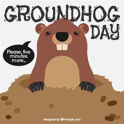 the groundhog day free background of groundhog in den for groundhog day vector