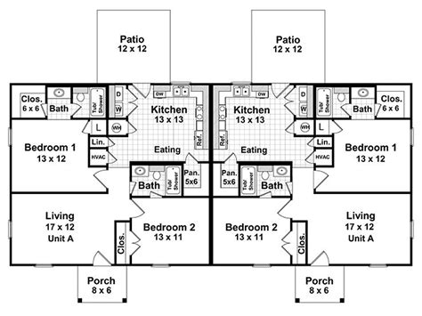 multi family home floor plans duplex home plans one story multi family house plan