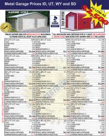 Garage Designs And Prices dakota steel garages prices metal building price list id ut wy sd