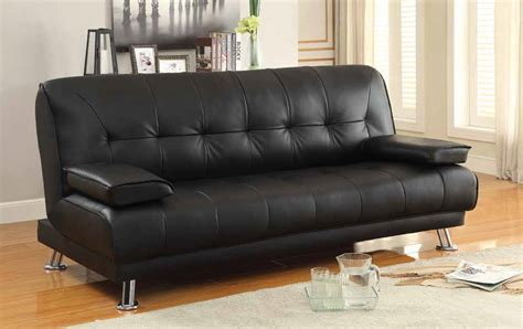 Coaster 300205 Black Leather Sofa Bed Steal A Sofa Sofa Bed Leather Black