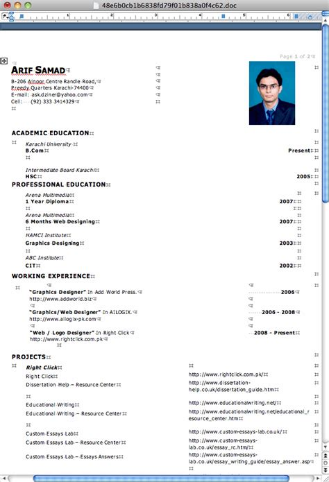 cv format word in pakistan cv format pakistan ms word