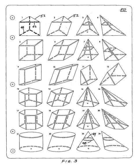 three dimensional shapes templates patent us7055259 template set for drawing three