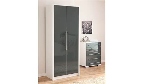 gray wardrobe minsk grey gloss wardrobe 2 door wardrobes george at
