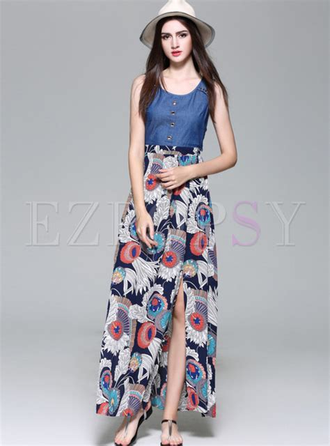 Ethnic Sleeveless Maxi Dress ethnic hollow out print sleeveless maxi dress ezpopsy