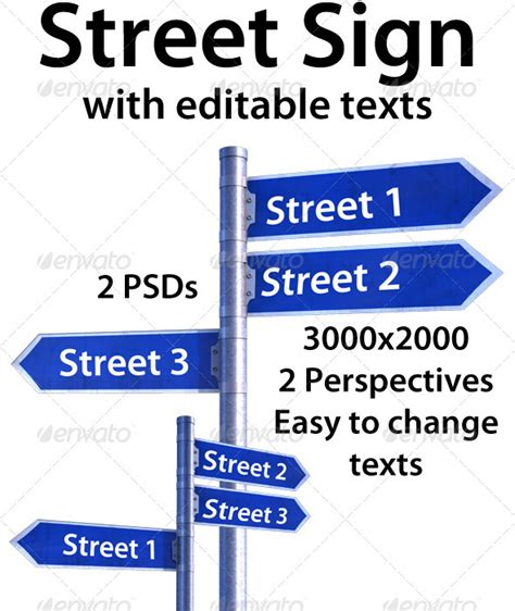 Street Sign With Editable Texts Graphicriver Editable Road Sign Template