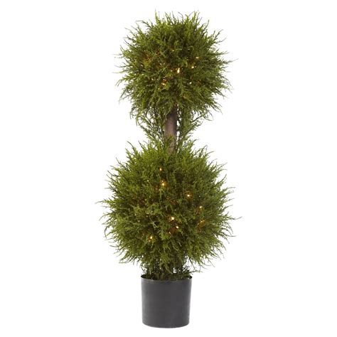 40 in cedar double ball pre lit topiary clear lights