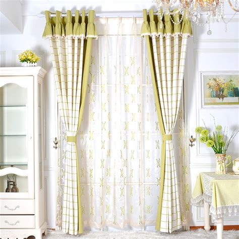 curtain valances for bedroom green brief cotton and linen bedroom ready made plaid