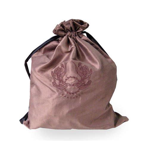 Embroidered Drawstring embroidered brown taffeta silk drawstring bag handbag
