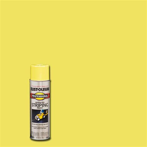 rust oleum professional 18 oz flat yellow striping spray paint 6 pack 2548838 the home depot