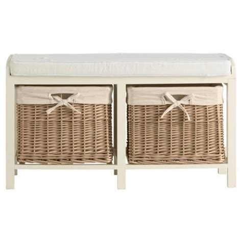 storage bench wicker baskets buy storage bench with wicker baskets cream from our