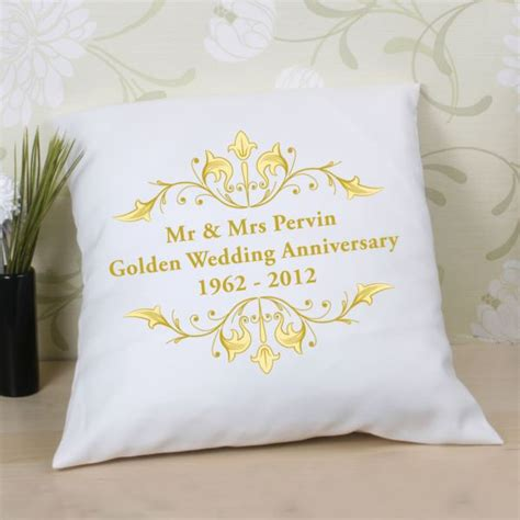 Wedding Gift Experiences by Personalised Golden Anniversary Cushion The Gift Experience