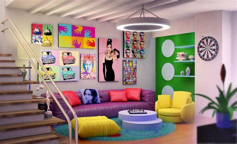 pop art home decor unbelievable family room with gorgeous furniture of purple