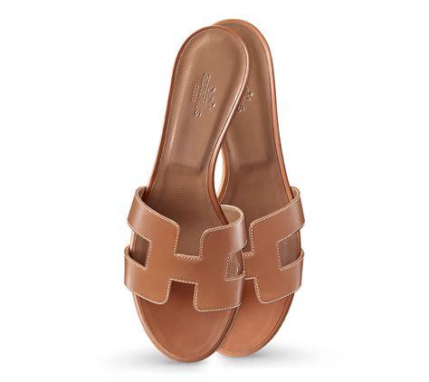 Hermes Oasis Oran Slippers 50717 1 herm 232 s oasis in brown gold piqures ecrues lyst