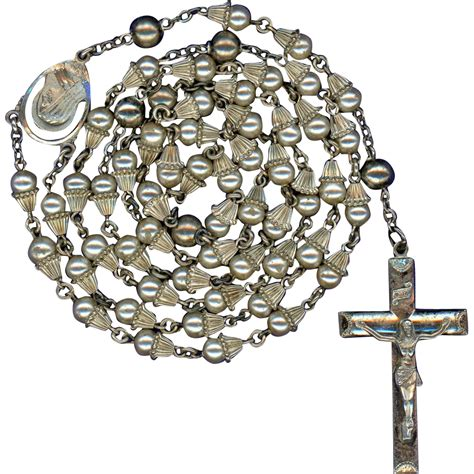 Wedding Bell Rosary by Scarce Vintage Creed Sterling Glass Pearl Wedding Bell