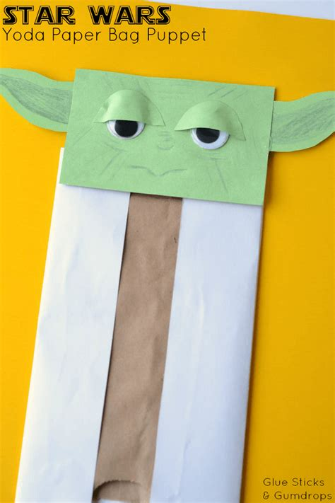 Paper Bag Arts And Crafts For - yoda paper bag puppet glue sticks and gumdrops