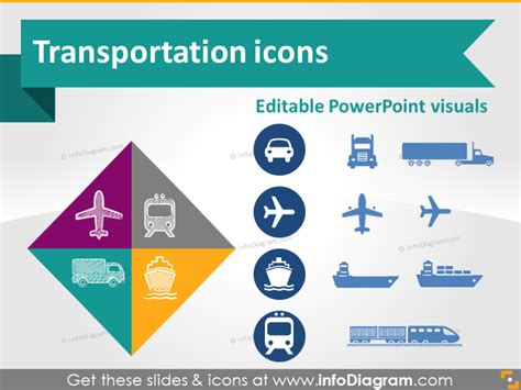 transport road rail water ship air logistics icon