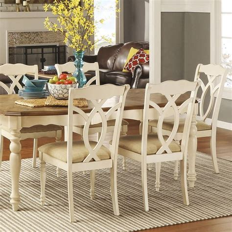 Tribecca Home Dining Chairs Tribecca Home Shayne Country Antique White Beige Side Chairs Set Of 2 Beige Fabric Set Of
