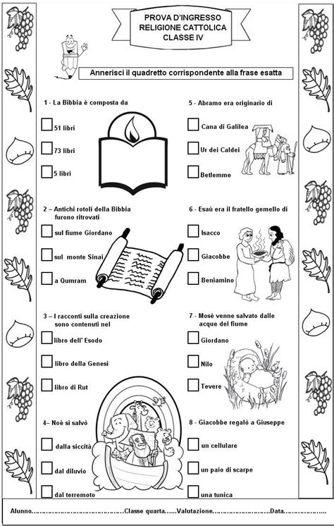 prove d ingresso classe quarta primaria prova d ingresso di religione cattolica per la classe