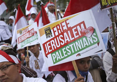 donald trump israel indonesia thousands of indonesians rally at us embassy over