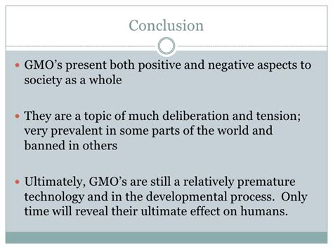 what should be in the conclusion of a research paper genetically modified food powerpoint