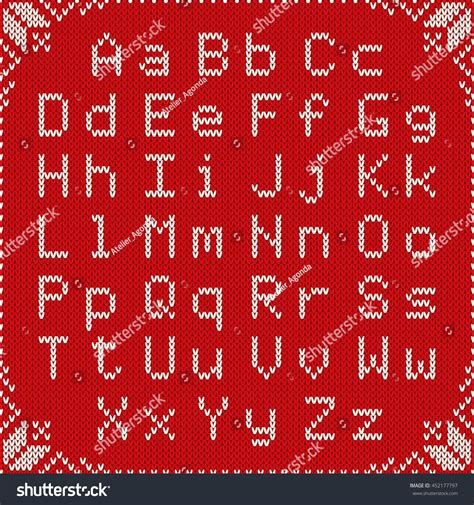 sweater pattern font christmas knitted font nordic fair isle stock vector