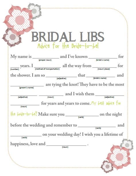 printable wedding shower mad libs 7 best images of bridal shower printables free printable
