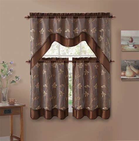 Kitchen Curtains Valances 3 Chocolate Brown Leaf Embroidered Kitchen Window Curtain Set With Valance Ebay