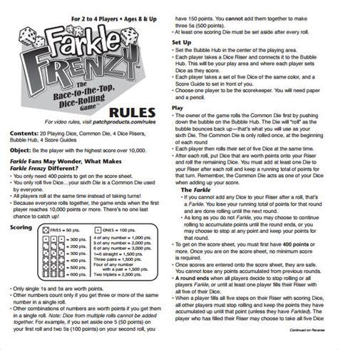 printable rules for card games farkle score rules sheet games pinterest scores