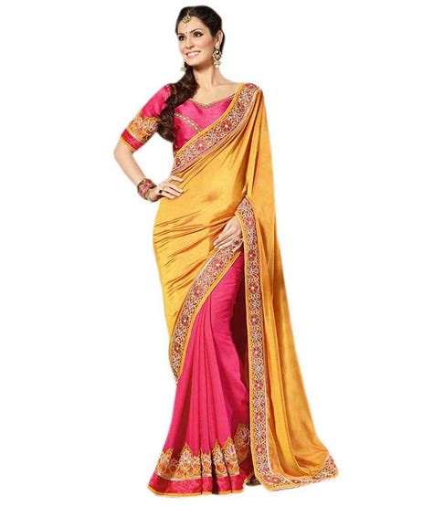 queen s queen s pure georgette border work saree with blouse piece