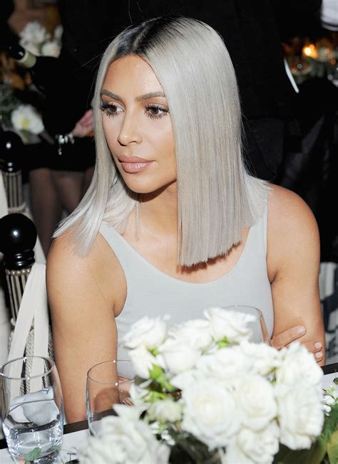 kim kardashian grey blonde hair kim kardashian shows off shorter hair with matching dress