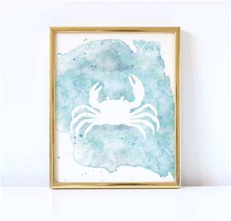 printable beach wall art crab watercolor printable coastal wall art beach house diy