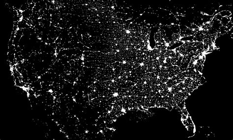 map usa lights us light pollution map at