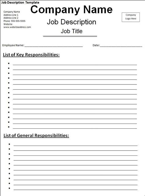 Job Description Template My Likes Pinterest Templates Job Description And Resume Description Template Free Word