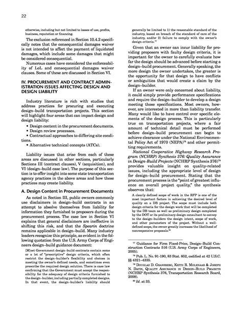 design and build contract liabilities iv procurement and contract administration issues