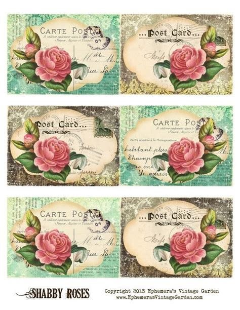 Decorative Printable Postcards | decorative printable tags ephemeras vintage garden free
