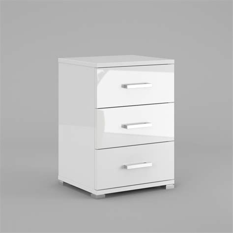 High Gloss Bedside Drawers neli 3 drawers bedside cabinets white high gloss and white mat high quality ebay