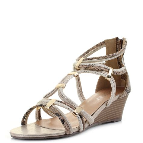 womens wedge rope gladiator low heel gold trim sandals